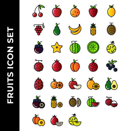 fruits icon set include apple, orange, strawberry, lemon, grape, avocado, banana, pineapple, durian, MANGOSTEEN, STARFRUIT, WATERMELON, KIWI, melon, rambutan, pomegranate, peach
