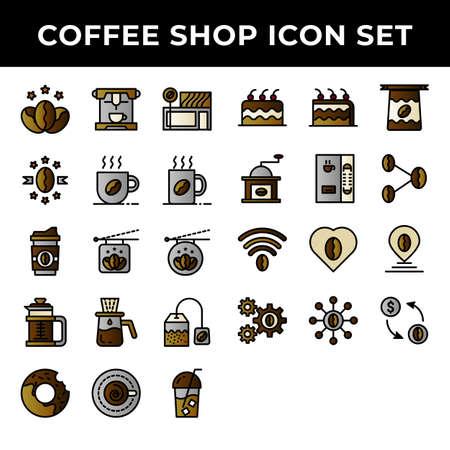 coffee shop icon set include premium coffee,espresso,cafe,mug,drink,cup,dropper,bag,cake,cake,bean,girder,love,pin,transaction 向量圖像