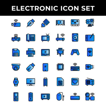 electronic icon set include power bank,Port,lamp,Projector,telephone,television,storage,printer,laptop,camera,flash drive,smart phone,computer,music player,microwave,cooking stove,router 向量圖像