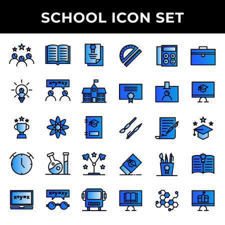 school icon set include graduation,study,certificate,creativity,discuss,school,award,education,book,clock,laboratory,studying,calculator,ruler,certificate,eraser,science 矢量图像