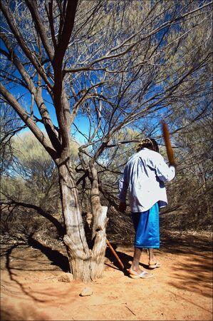 aboriginal: El australiano. La gu�a local - el australiano radical que trabajan en el parque. Los costos bajo un �rbol y cambios bruscos de un palo.
