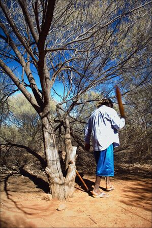 outback australia:  The Australian. The local guide - the radical Australian working in park. Costs under a tree and swings a stick.