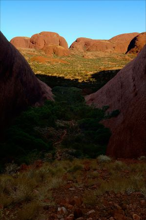 olgas: Huge monolithic blocks of red color in sun beams. One of the most ancient monoliths in the world.The Olgas - Kata Tjuta, Australia.