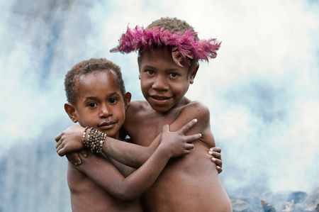 Children of a new Guinean tribe of natives Dani Dugum. Indonesia. 25 July 2009.