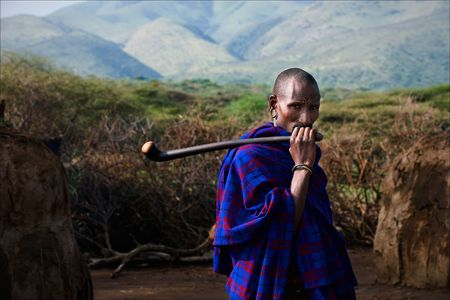 Portrait of maasai man.The Maasai (also Masai) are a Nilotic ethnic group of semi-nomadic people located in Kenya and northern Tanzania.On March, 5th 2009. Tanzania.  Stock Photo - 7840619