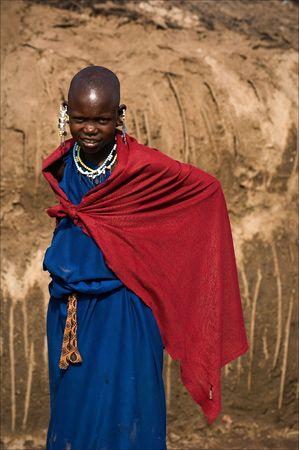 Maasai girl. On March, 2009. Tanzania.The Maasai (also Masai) are a Nilotic ethnic group of semi-nomadic people located in Kenya and northern Tanzania.