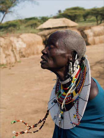 maasai mara: Old masai woman.The Maasai (also Masai) are a Nilotic ethnic group of semi-nomadic people located in Kenya and northern Tanzania.On March, 5th, 2009. Tanzania.