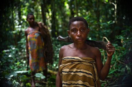 etnic: Africa. Jungle of the Central-African Republic. On November, 2nd, 2008.W. Women from a tribe of pygmies Baka in jungle.