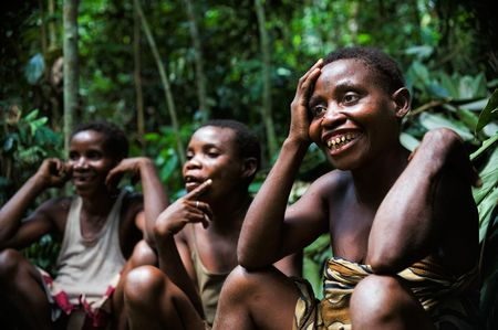Africa. Jungle of the Central-African Republic. On November, 2nd, 2008. Baka pygmies women.