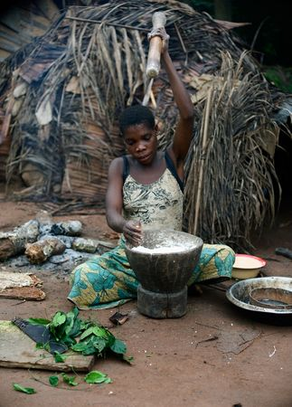 folk village: Africa. Jungle of the Central-African Republic. On November, 2nd, 2008.Baka woman cooks food, crushing a flour in a mortar.