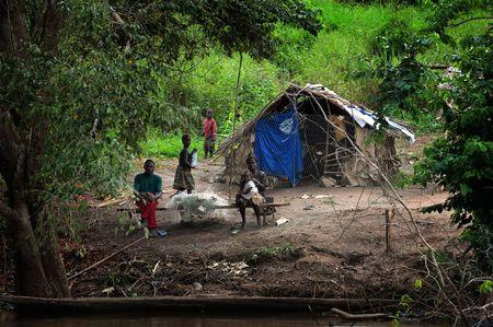 the tribe: R�o de la Sangha. Rep�blica Centroafricana. Africa. En 1 de noviembre, de 2008. Un peque�o pueblo en la orilla del r�o Sangha en selva profunda Rep�blica Centroafricana.