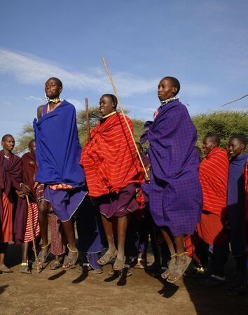 masai: Africa.Tanzania. 5 march 2009. Maasai village. Masai performing warrior dance,Tanzania, East Africa. Editorial