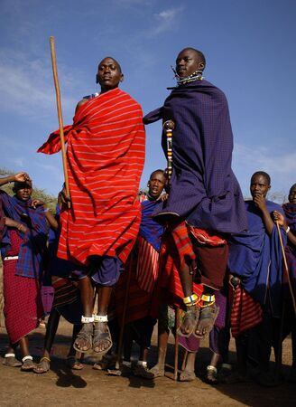 Africa.Tanzania. 5 march 2009. Maasai village. Masai performing warrior dance,Tanzania, East Africa. Stock Photo - 8150607