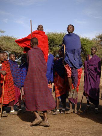 Africa.Tanzania. 5 march 2009. Maasai village. Masai performing warrior dance,Tanzania, East Africa.