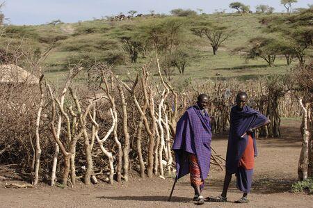 Africa. Tanzania. On March, 5th 2009 . Maasai village. A double portrait maasai men. Savanna. A shining sun.