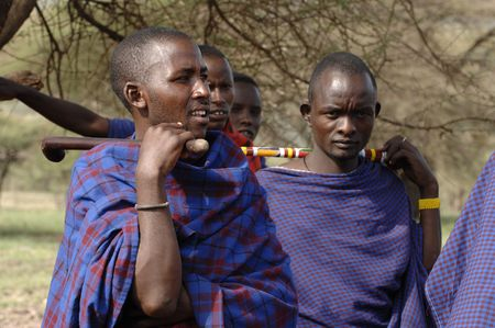 Africa. Tanzania. On March, 5th 2009 . Maasai village. A group portrait maasai men. Savanna. A shining sun.