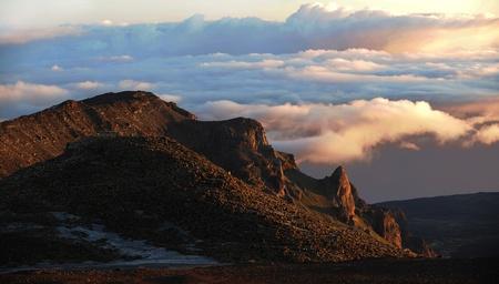 USA, Hawaii, Maui, Haleakala NP, Firstlight of day in the summit crater photo