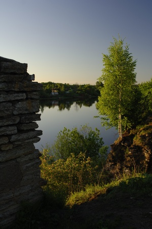 volkhov: View on the river Volkhov. In the summer, early in the morning, a view on the river Volkhov from coast at an old fortress. Stock Photo