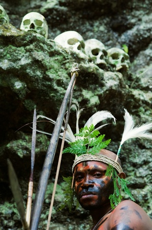 ethnography: INDONESIA, NEW GUINEA, SECTOR SENGGI - 2 FEBRUARY 2009: The warrior of a Papuan tribe of Yafi in traditional clothes, ornaments and coloring. New Guinea Island, Indonesia. February 2, 2009.