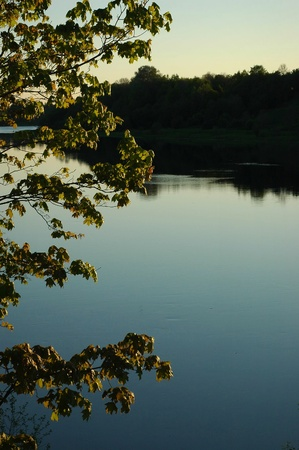 View on the river Volkhov. In the summer, early in the morning, a view on the river Volkhov from coast. photo
