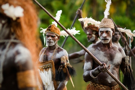 ASIA, INDONESIA,  PAPUA (IRIAN JAYA), ASMAT PROVINCE - 18 JANUARY 2009: Headhunters of a tribe of Asmat show traditional and national customs, dresses, the weapon.18 january 2009