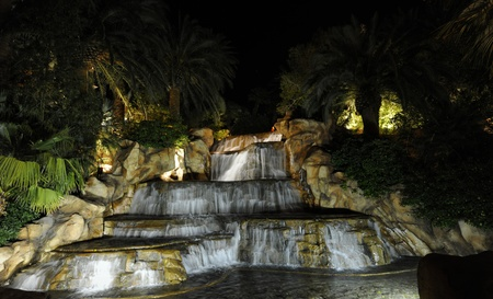 Falls and fountains. A night kind on falls and fountains. Night illumination.  photo