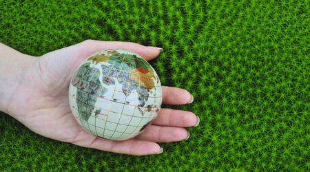 Save the world. Earth globe in a palm hands  on green moss  background. photo