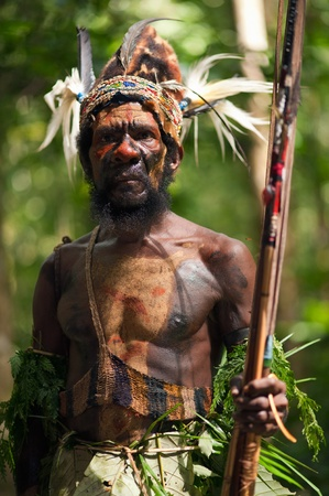 sektor: NEW GUINEA, INDONESIA - 2 FEBRUARY: The warrior of a Papuan tribe of Yafi in traditional clothes, ornaments and coloring. New Guinea Island, Indonesia. February 2, 2009.
