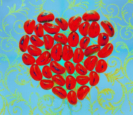 Red hot heart on the cold blue  background photo