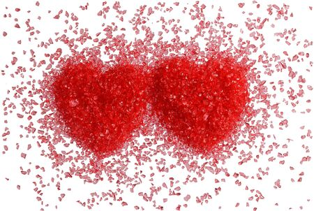 Two hot red hearts on a white background. Isolated on white