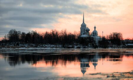 monastery nature: Nikolo Medvedsky Monastery  in New Ladoga after sunset. Novaya Ladoga, Volkhov district, Leningrad region, Russia Stock Photo