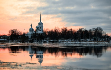 Nikolo Medvedsky Monastery  in New Ladoga after sunset. Novaya Ladoga, Volkhov district, Leningrad region, Russia photo