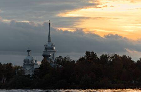 volkhov: Nikolo Medvedsky Monastery in New Ladoga in sunset light  Novaya Ladoga, Volkhov district, Leningrad region, Russia
