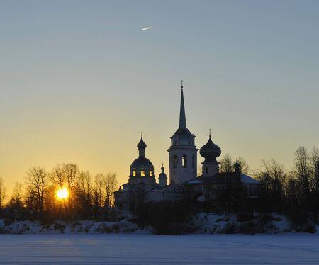 Nikolo Medvedsky Monastery in New Ladoga in suniset light  Novaya Ladoga, Volkhov district, Leningrad region, Russia Stock Photo - 25027120