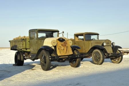 Soviet aged military cargo cars of times of World War II