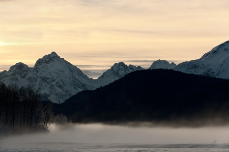 Snowcovered Mountains in  Alaska  Chilkat State Park  Mud Bay  HAINES  Alaska  USA photo