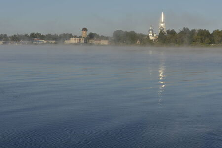 volkhov: Early foggy morning to Volkhov river. New Ladoga. Russia Stock Photo