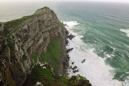 cape of good hope: View from Cape of Good Hope in the foggy morning - South Africa