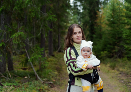 Portrait of Mother and Baby in the wild forest photo