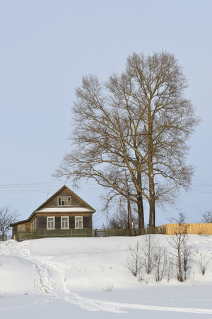 hillock: The aged house near a tree on a snow-covered hillock