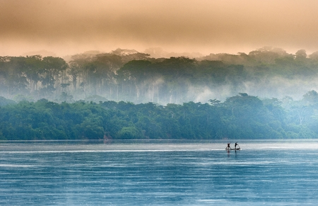 river: Sangha River. Morning fog on the African river Sangha. Congo. Stock Photo