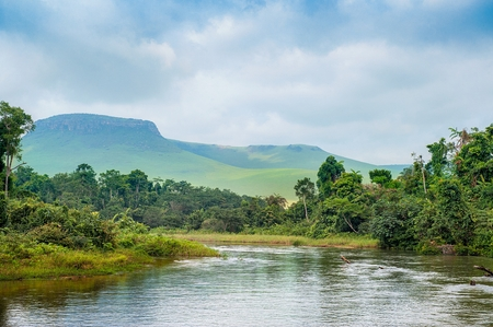 River in the Jungle. Small river in jungle. Under the cloudy sky through hills and mountains the small river proceeds on jungle. Congo. Africa Stok Fotoğraf