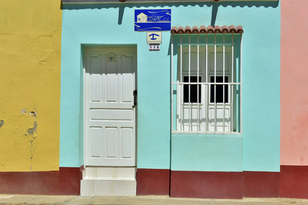 windows and doors: Colorful elements of traditional houses in the colonial town of Trinidad in Cuba. Windows, doors.  Cuba 2015