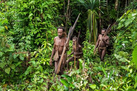 Nuova Guinea: INDONESIA, NUOVA GUINEA, Irian Jaya, ONNI VILLAGE - 27 giugno, 2012: Le Papuani da una trib� Korowai. Kombai Korowai (Kolufo) con l'arco e le frecce sullo sfondo naturale della foresta Editoriali