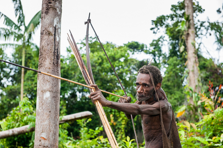 ancient warrior: NDONESIA, NEW GUINEA, IRIAN JAYA, ONNI VILLAGE - JUNE 27, 2012: The Papuan from a Korowai tribe aims for shoots an archer. Korowai kombai (Kolufo) with bow and arrows on the natural forest background