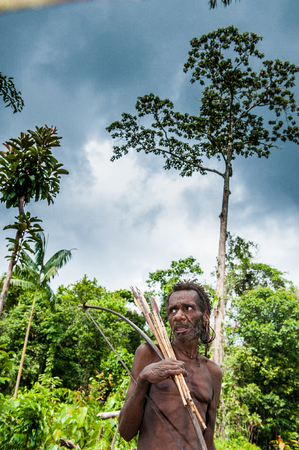 man portrait: NDONESIA, NEW GUINEA, IRIAN JAYA, ONNI VILLAGE - JUNE 27, 2012: The Papuan from a Korowai tribe. Korowai kombai (Kolufo) with bow and arrows on the natural forest background Editorial