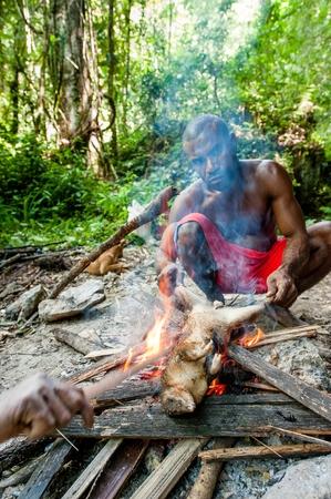 Nuova Guinea: NORD-OVEST Irian Jaya, Nuova Guinea, Indonesia-gennaio 12, 2009: La gente del posto dell'isola della Nuova Guinea a cena il cuscus opossum catturato.