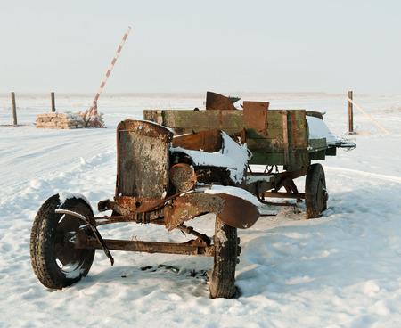 world war ii: Burnt Truck World War II: Old Soviet army truck  of WWII. Outdoors at winter