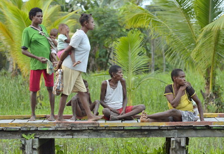 destitution: FOREST SMALL VILLAGE, IRIAN JAYA, NEW GUINEA, INDONESIA - MAY 22, 2016: Group of people of asmat in small deaf traditional village in jungle of New Guinea Island. May 22, 2016