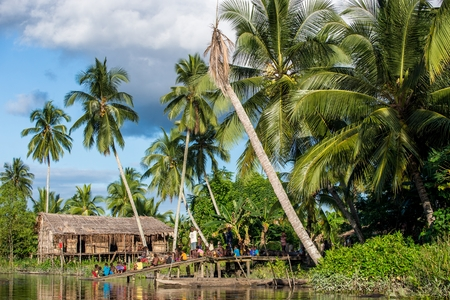 nuova guinea: YOUW VILLAGE, ATSY DISTRICT, ASMAT, NEW GUINEA, INDONESIA - MAY 23: The Village of asmat tribe people on the river in Jjungle of New Guinea. Long men house of Asmat Village. Indonesia. May 23, 2016 Editoriali